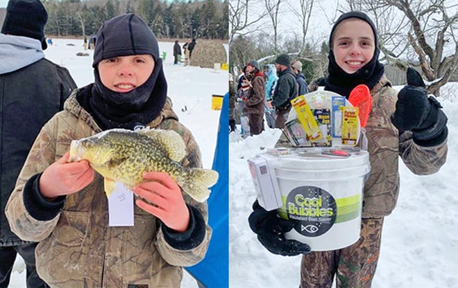 """Wayne County's own Nathan Whitmore is all smiles after earning second place in the Pan Fish Division of the Perkins Pond Rod & Gun Club Tournament. Nathan caught this nearly 12"""" crappie and earned a nice prize package."""