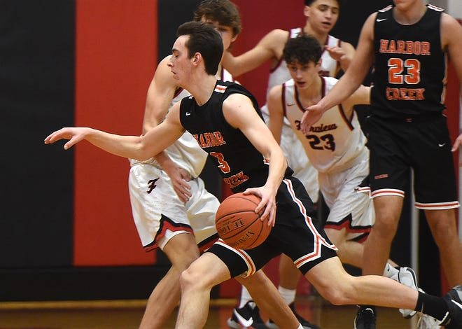 Harbor Creek's Sam Howell handles the ball near the top of the key against Fairview on Feb. 16, 2021 in the District 10 game at Fairview High School.