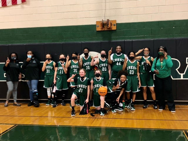 The Crest Middle girls basketball team celebrates its 2021 Tri-County Conference title win last week.