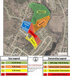 A map provided by Turning Point Engineering shows the empty 5.6 acres fronting 59 Pleasant St. (E), the 6.3 acres that would be donated to the Town of Grafton (D), and the nearly 28 acres on either side of the 6.3-acre parcel already owned by the town and the state (A, B and C).