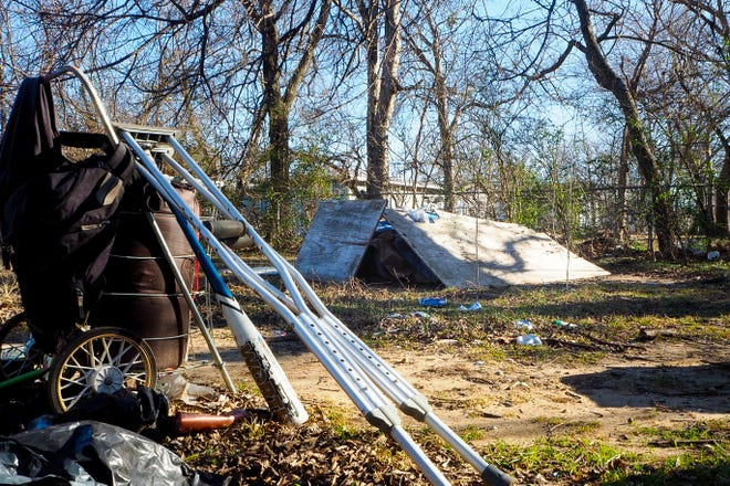 A homeless camp can be seen in Denison during the Point in Time survey in 2017.