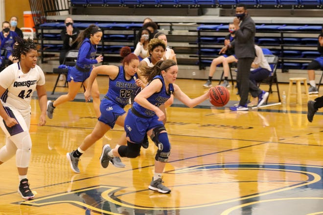 Former Hendersonville High standout Bailey Ray takes the ball down the court during a game against Agnes Scott earlier this season at Boshamer Gym.
