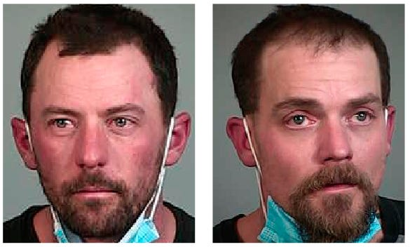 Jacob Gordon, left,Michael Valenzuela were arrested for being in possession of stolen property on Feb. 14, 2021.