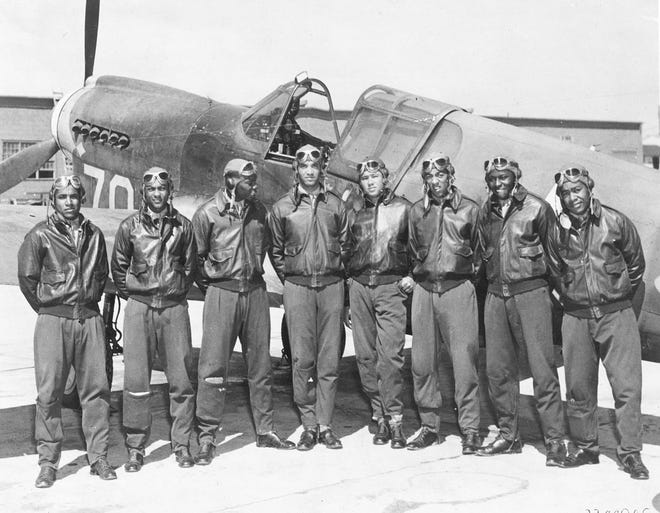 The Tuskeegee Airmen were the first Black military aviators in America.  They take their name from Alabama's Tuskegee Army Airfield, where the original unit trained during World War II.