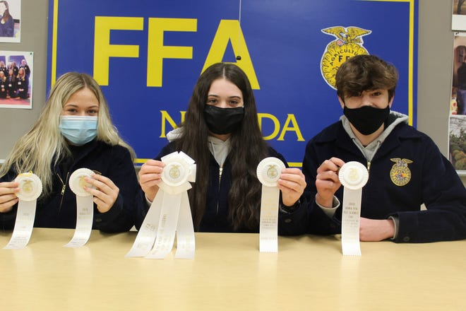 Nevada High School FFA's veterinary science team placed third at state: left to right, Ellie Moser, Bianca Sponseller and Kent Sponseller. Not pictured are Karter Beving and Nevada FFA advisor Kevin Cooper.
