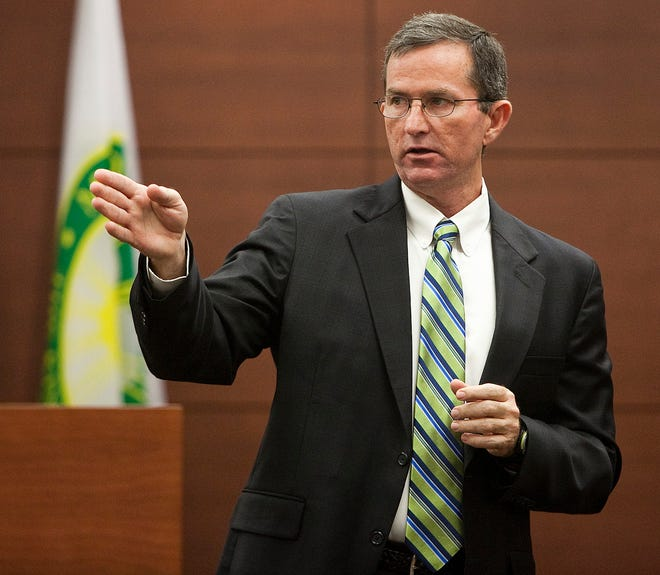 Brad King, shown here addressing a jury during a 2012 murder trial, decided not to seek another term as state attorney. His next move: teaching at the law enforcement academy or becoming a school resource officer.