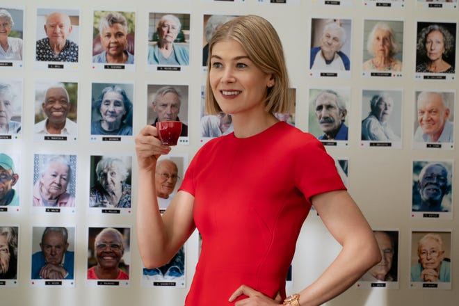 "Rosamund Pike in a scene from ""I Care A Lot."""