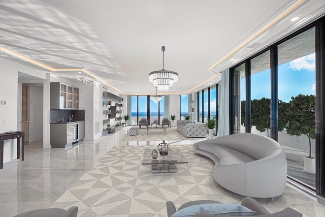The living area of Penthouse 605S at the Palm  Beach Hampton captures ocean views, as depicted in this digitally illustrated photo. Documented at $5.54 million, the sale this week of the condominium and its cabana set a building record.