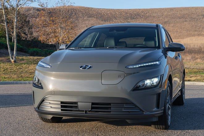 The Kennebunkport selectmen decided to move forward with plans to lease two Hyundai Kona electric vehicles. Pictured is a 2022 model, featuring a power port above the front bumper.