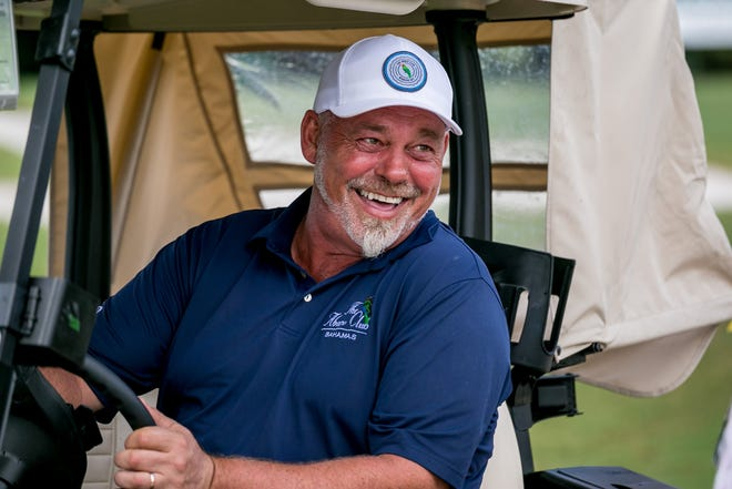 Darren Clarke breaks into a smile after finishing his round as the early final-day leader at last year's TimberTech Championship at The Old Course at Broken Sound.