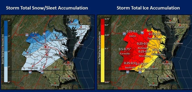 This map graphic from the National Weather Service in Wakefield shows the anticipated accumulation of snow, sleet and freezing rain