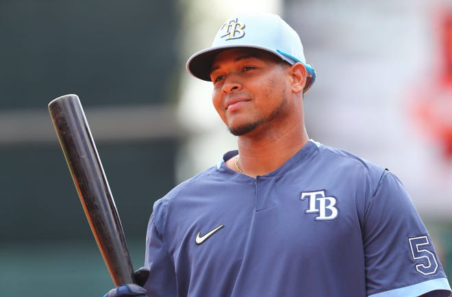 Catcher Ronaldo Hernandez, shown in spring training of 2020 with the Tampa Rays, is coming to the Red Sox via trade.