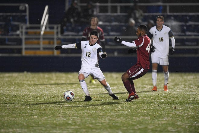 Midfielder Colin Biros (12) scored three goals and had four assists as a freshman in 2018 with the Akron men's soccer team, helping the Zips to a national runner-up finish. (Photo courtesy of the University of Akron)