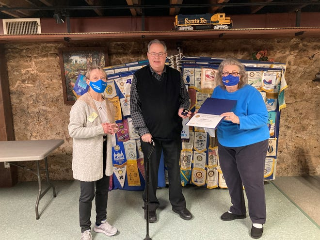 Pictured, from left: Kathy Kwiat-Hess, District Foundation chair of the Pecatonica Rotary; Nord Swanstrom, the Paul Harris Fellow; and Marilyn Wilke, Pecatonica Rotary president.