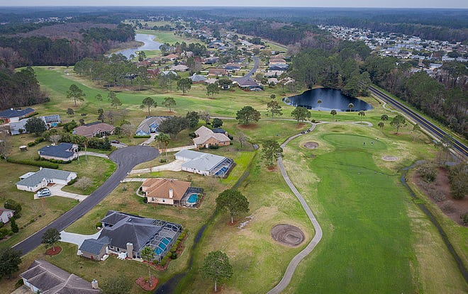 An aerial photograph shows the St. Johns Golf Club and the Cypress Lakes community in Elkton on Feb. 17, 2021.