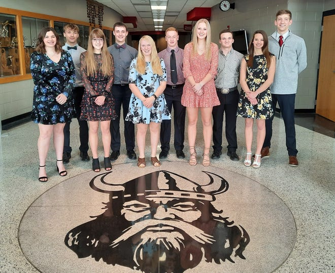 This year's Sweetheart Ball Court at Roland-Story High School included, front row, left to right, Maddy Stevenson, Anna Peach, Courtney Wuebker, Jadyn Nelson, Reagan Schmitz, back row, Zane Haglund, Dawson Chelsvig, Caden Sporleder, Jackson Sterle and Sam Skaar.