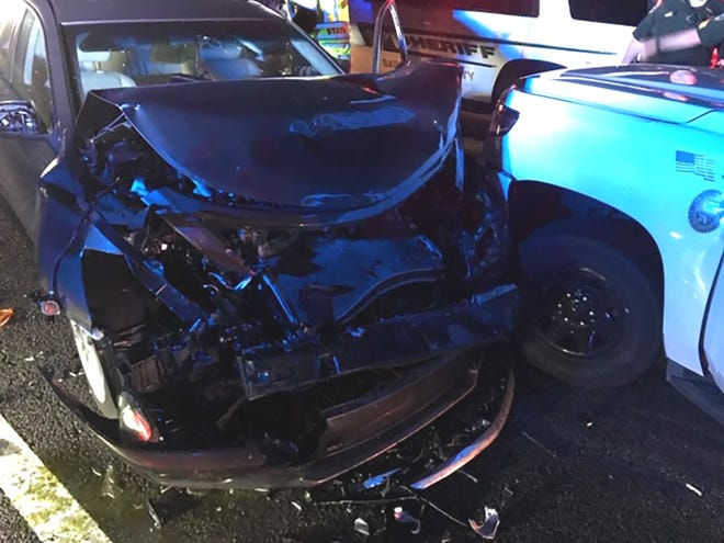 A Sarasota County Sheriff's deputy collided with a wrong-way driver on I-75 on Wednesday morning, Feb. 17, 2021.
