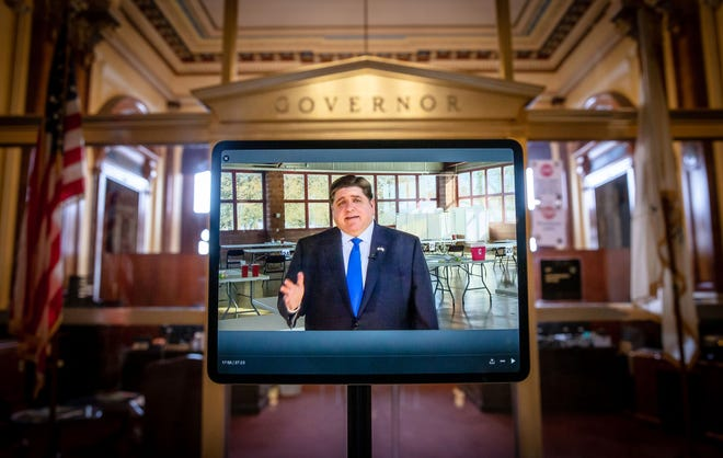 Given the ongoing COVID-19 pandemic, Illinois Gov. JB Pritzker delivered a virtual joint budget and State of the State address that was prerecorded at the Illinois State Fairgrounds in Springfield at the site of the new mass-vaccination clinic in the Orr Building.