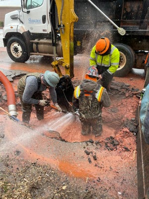 City of Shawnee crews work to fix a water main break during frigid conditions.