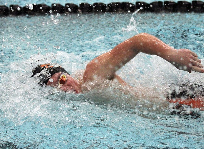 Dalton Tisdel swims in the 50 freestyle race for Sturgis on Tuesday.