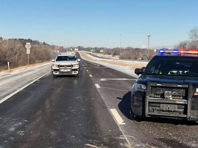 The Kansas Highway Patrol posted this photo Tuesday on its Facebook page showing an area where Interstate 470 was blocked off Tuesday morning after a two-vehicle crash.