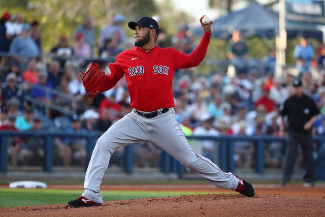 Eduardo Rodriguez, shown during spring training in 2020, is back in action for the Red Sox this season.
