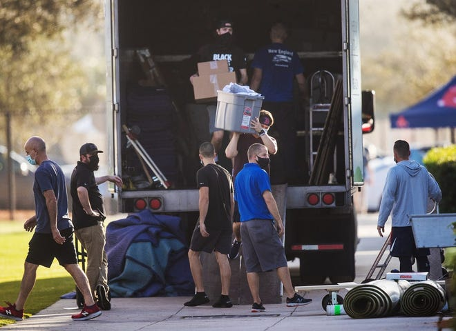 The Red Sox equipment truck was unloaded last week in Fort Myers, Florida.