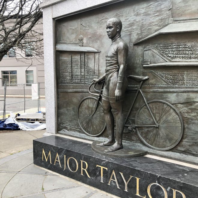 This statue of Major Taylor, 1899 world cycling champion, known as the Worcester Whirlwind, is at the Worcester Public Library.
