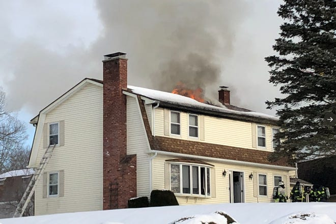 No one was injured in the three-alarm blaze Wednesday afternoon, police said.