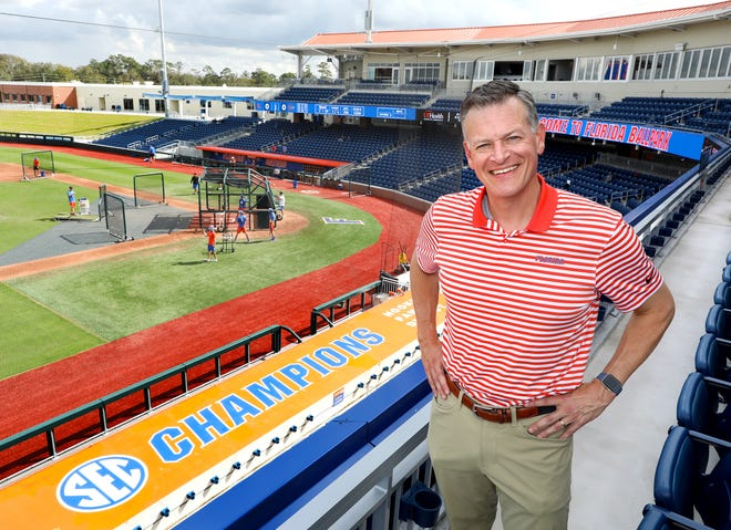 Florida Athletic Director Scott Stricklin stands in the upper deck area of the Gators' new baseball home on the Gainesville campus, Florida Ballpark.
