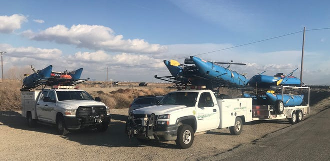 Kern County Sheriff's search and rescue team at California Aqueduct and Highway 119 Tuesday afternoon