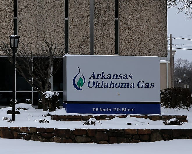 The Arkansas Oklahoma Gas Company downtown office, 115 N. 12th St., as seen, Wednesday, Feb. 17, in Fort Smith.