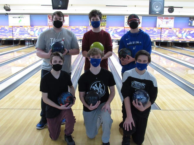 The Bradley boys bowling team won the OCC-Cardinal title, its first league championship in 10 years. The team includes (front row, from left) Joe Dwyer, Nick Caruso, Carson Dever and (back row, from left) Zander Dietz, Nick Curren and Jacob Wolford. The girls team also won the OCC-Cardinal for its third consecutive championship.