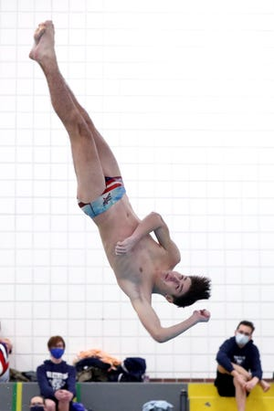 Centennial's Alec Proudfoot captured the Division II district diving title Feb. 16 at Jefferson Country Club, advancing to state Feb. 25 at Branin Natatorium in Canton.
