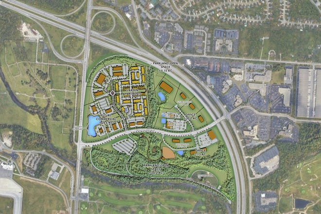 The latest concept plan from applicant Larry Canini for the Crescent at Central Park shows 14.4 acres of garden apartments, 26.6 acres of future commercial and dedicated park land and open spaces.