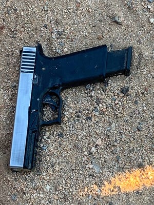A handgun that authorities said was recovered after a fatal shooting on Wednesday, Feb. 17, 2021.