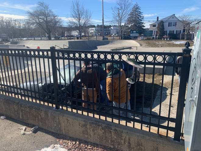 A car crashed into the Marshfield Skate Park on Wednesday, Feb. 17.