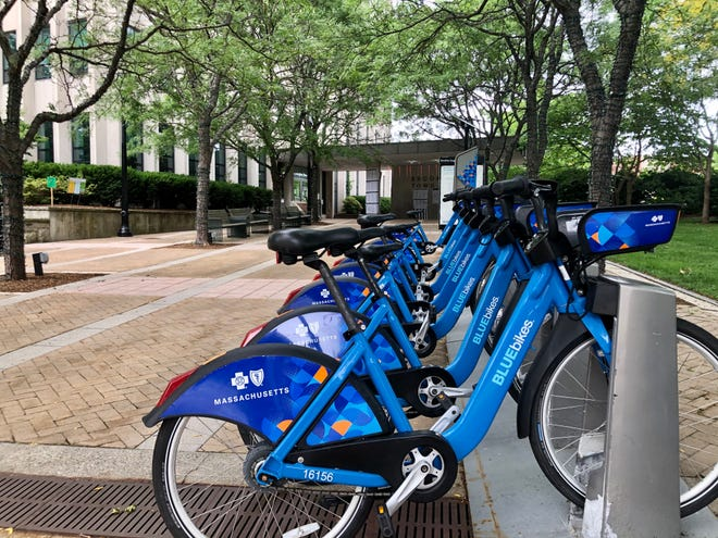 A Bluebikes station outside Brookline Town Hall.