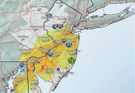Areas across central and southern New Jersey will also receive between a tenth to a quarter inch of ice form during Thursday's storm.