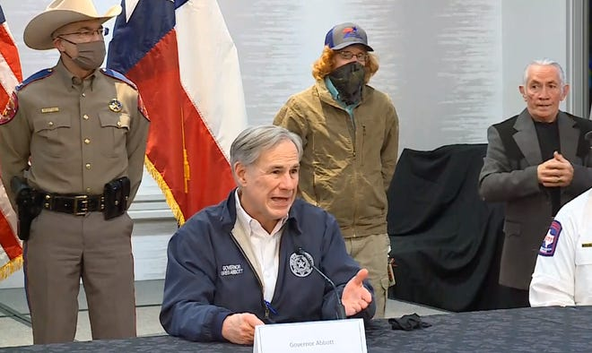 Gov. Greg Abbott said he will seek assistance for Texans who suffered property damage in the winter storm and will mandate winterization of the state's electric grid.