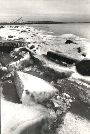 Portions of Oso Bay froze on Dec. 25, 1983.