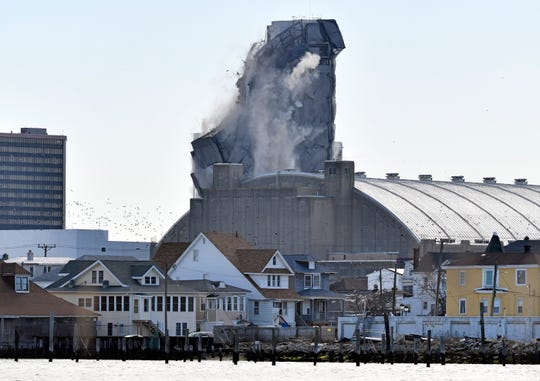 The implosion of the former Trump Plaza Casino in Atlantic City, N.J., pictured from a public viewing area located at Bader Field on Wednesday, Feb. 17, 2021.