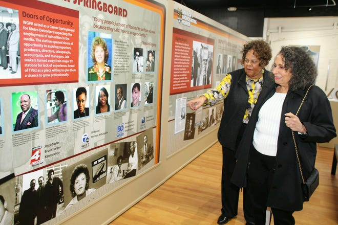 Karen Hudson Samuels (left) with Kathy Hughes (right) at WGPR-TV Museum.