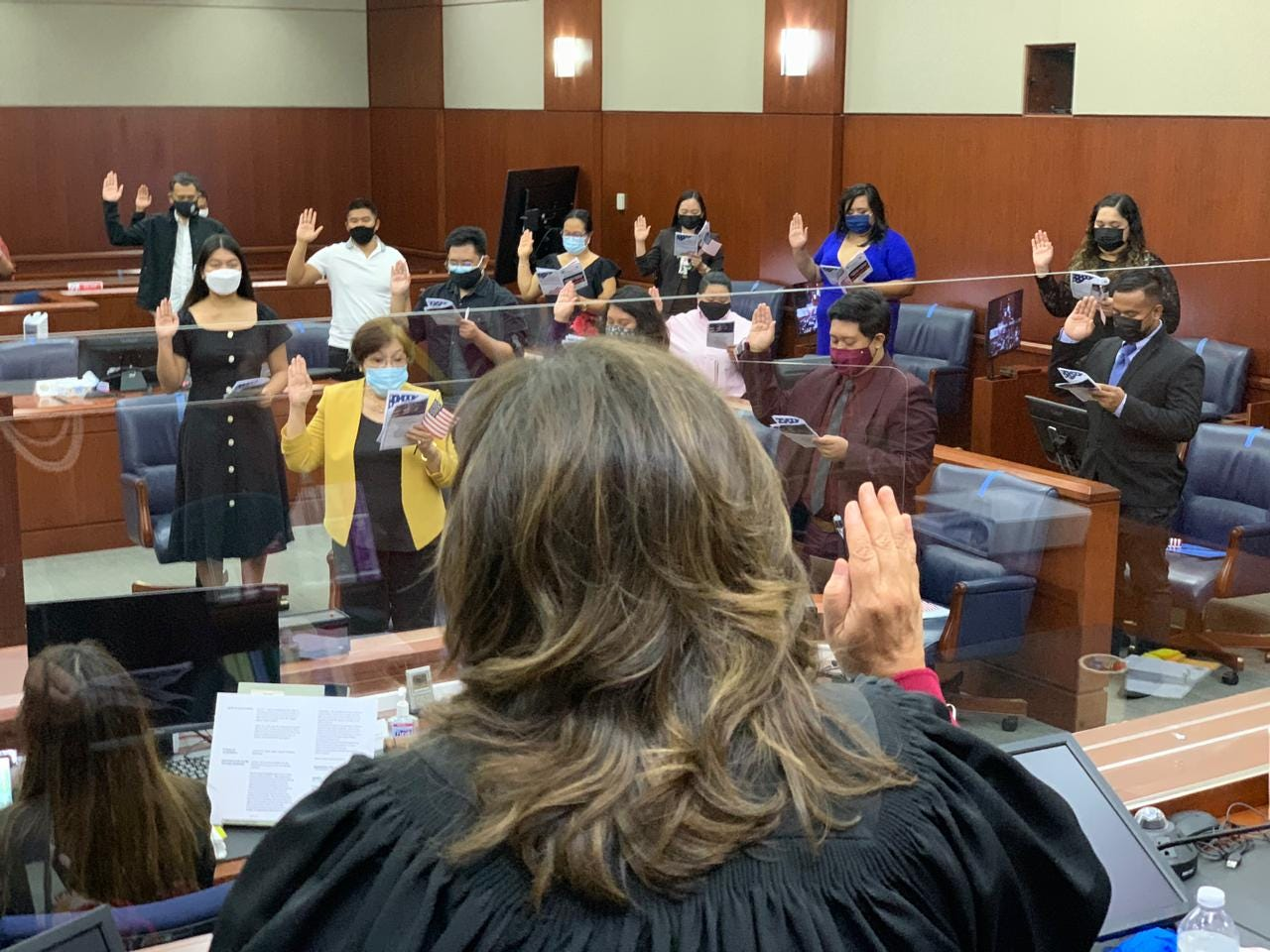 Forty-eight candidates became newly naturalized American citizens after reciting their Oath of Allegiance, administered by Chief Judge Frances Tydingco-Gatewood, during two separate ceremonies at the District Court of Guam in Hagåtña on Tuesday, Feb. 16, 2021. The candidates, originally from the Philippines, Japan and Thailand, attended the back-to-back ceremonies held in recognition of African American History Month.