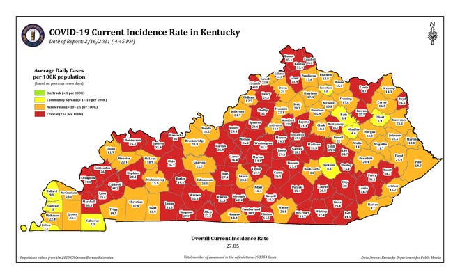 The COVID-19 current incidence rate map for Kentucky as of Tuesday, Feb. 16.