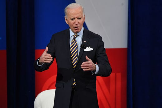 President Joe Biden participates in a CNN town hall at the Pabst Theater in Milwaukee, Wisconsin, on Feb. 16, 2021.