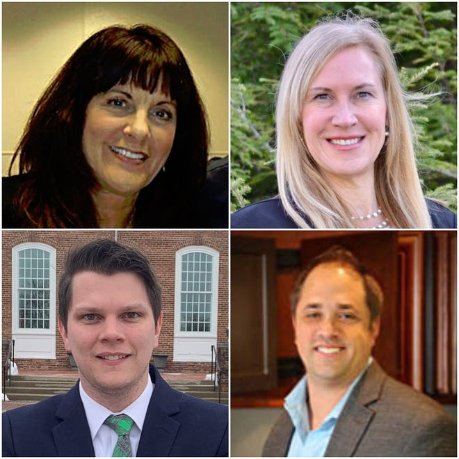 Four candidates advanced in the race for Greendale village trustee. The four, clockwise from upper left, are Colleen Fechtmeyer, Elaine Unger, Jason Cyborowski and Tyler Helsel.