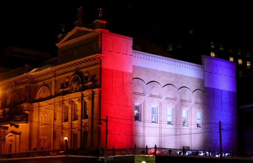 The Pabst Theater is one of many buildings and landmarks throughout downtown Milwaukee that don red, white and blue lighting to welcome President Biden during his first visit to Milwaukee since taking office.