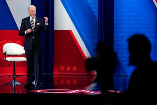 President Joe Biden talks during a televised town hall event at Pabst Theater, Tuesday, Feb. 16, 2021, in Milwaukee.