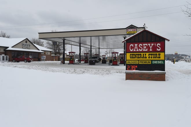 Gas was $2.39 a gallon at Casey's General Store in Mountain Home on Wednesday morning. Storms that have crippled Texas refineries' output are set to send gasoline prices higher, according to a petroleum analyst. The average price for a gallon of regular unleaded in Fort Smith on Friday was $2.26.